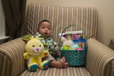 Sam with his Easter basket and bunny