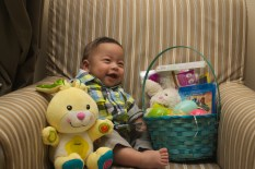 Sam laughs with Easter joy!