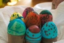 Colored eggs after Scarlett paints them