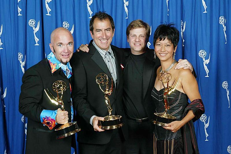 Doug Jack, Kenny Ortega, Eric Schwartzman and Sarah Kawahara with Emmy wins for the Salt  Lake Olympics Opening Ceremonies.