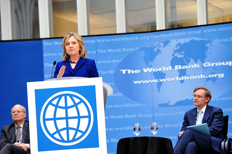U.S. Secretary of State Hillary Rodham Clinton delivers remarks on World Water Day in the World Bank Atrium in Washington, D.C.