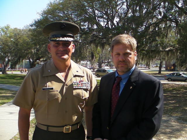 """With Brigadier General Frederick Padilla USMC during the <a href=""""https://youtu.be/xYsCuezfCis"""">Educator's Workshop at Marine Corps Recruit Depot</a>, Parris Island, South Carolina."""
