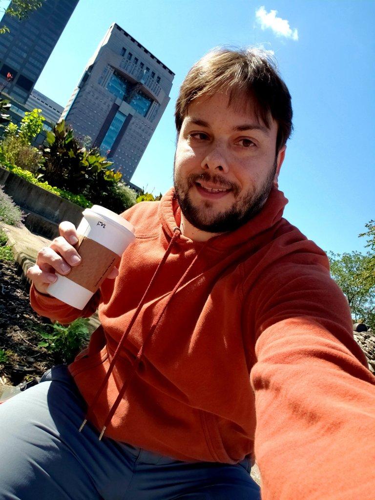 Eric Shay Howard Hoodie and Coffee Selfie