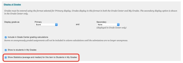 Display of Grades Section within the Assignments Tool