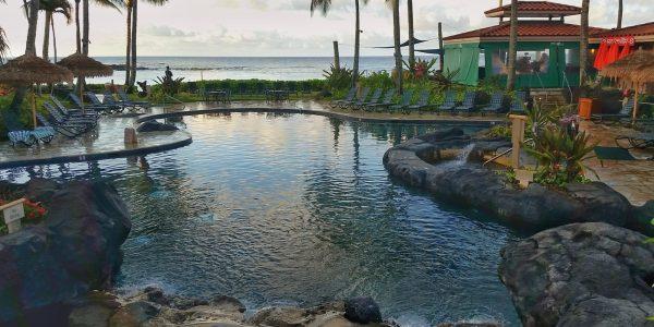 Pool at Sunrise from Marriott Waiohai Beach Club