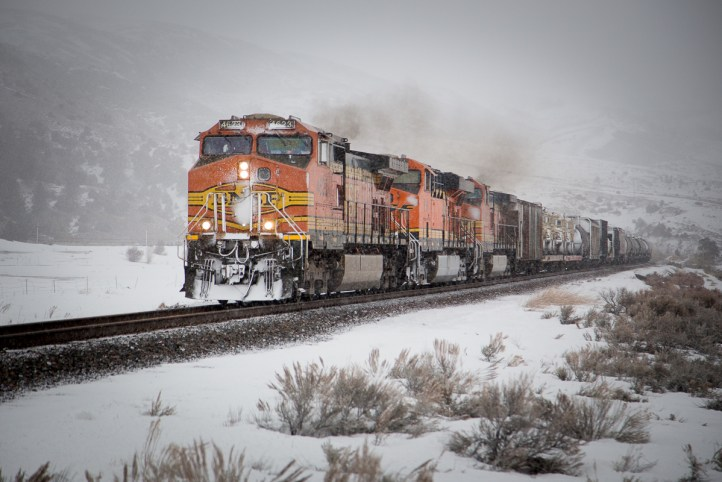 The coal train takes the siding at Parshall to allow the westbound BNSF manifest by.