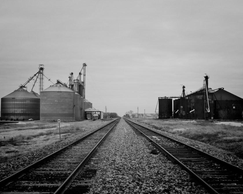 An old train depot near downtown Frisco, Texas, in black and white.