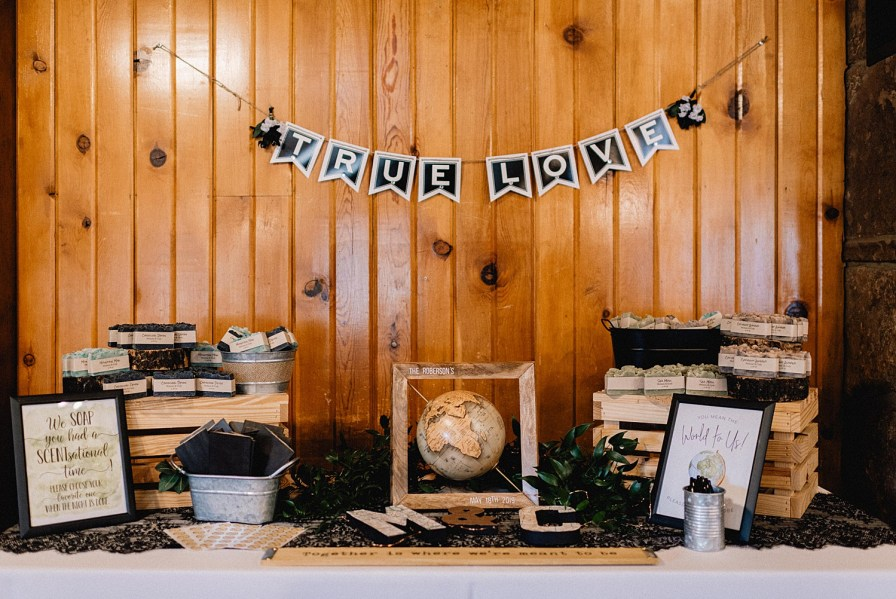 wedding welcome table with guest book and guest favors