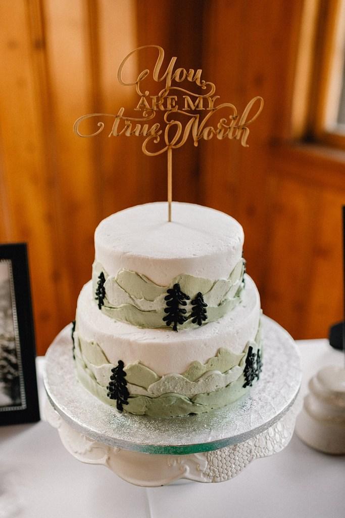 evergreen tree designs on wedding cake