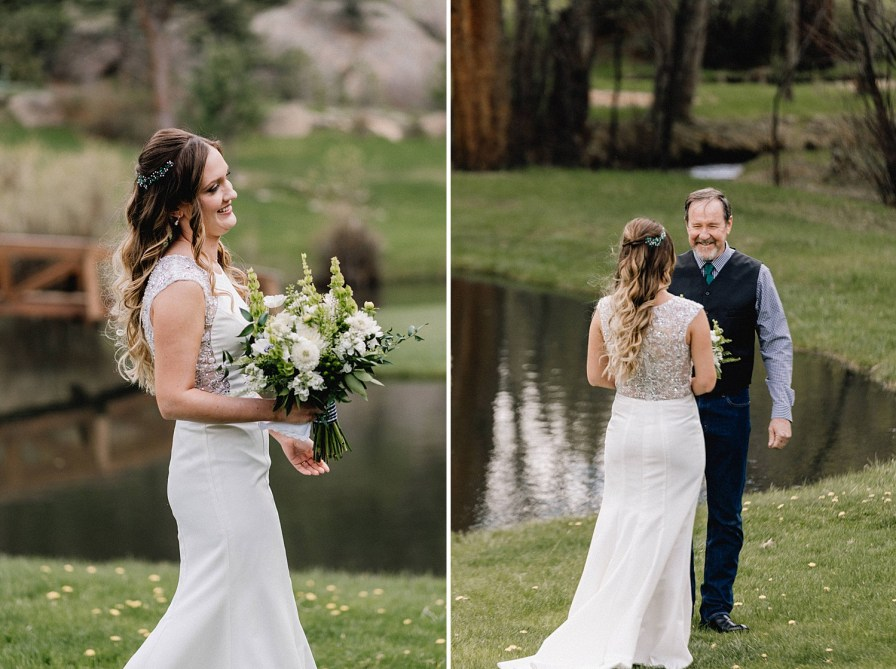 bride's first look with father at black canyon inn