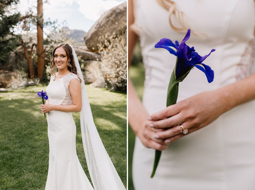 bride with purple iris for her mother