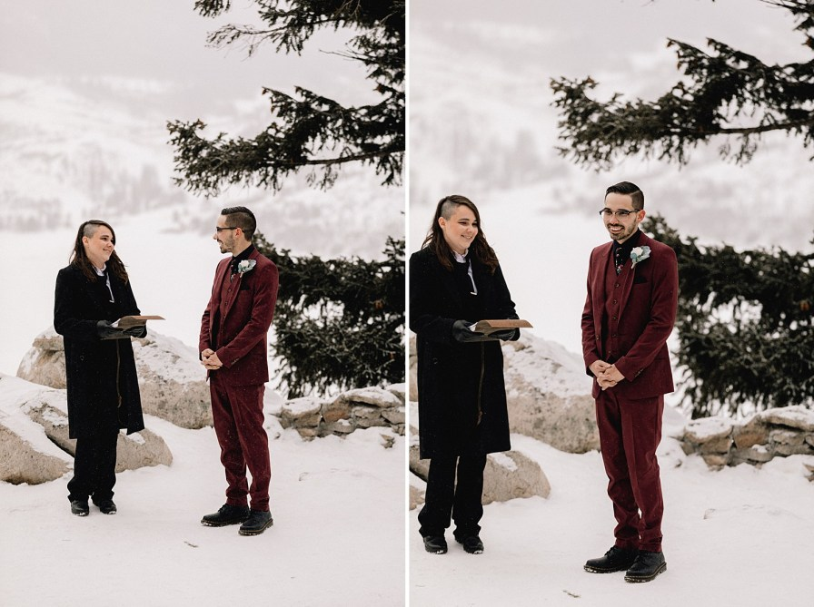 Groom waiting for bride at snowy Sapphire Point elopement