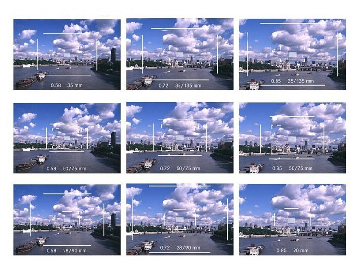 DIFFERENT-BRIGHTLINE-FRAMES-WITH-0.58X-0.72X-AND-0.85X-LEICA-M-VIEWFINDERS