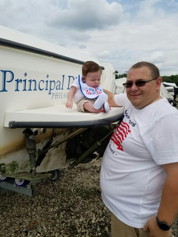 Visiting dada's broken boat.