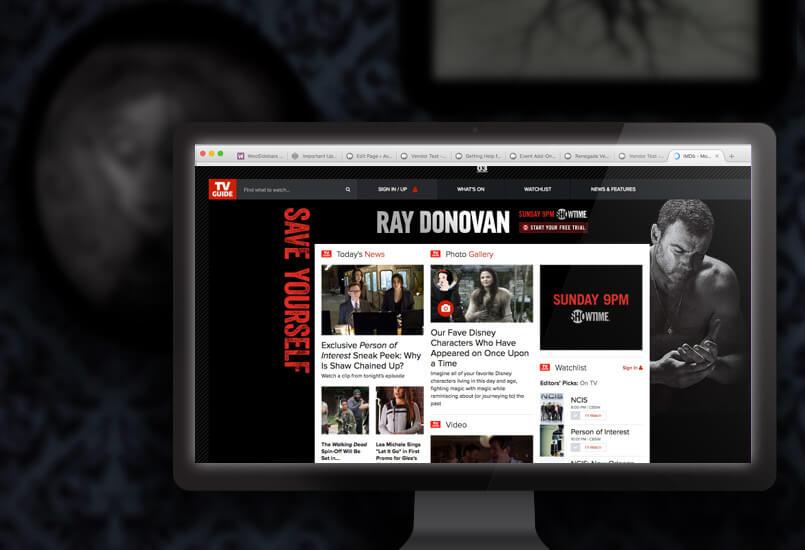 Takeover ads on TVGuide.com