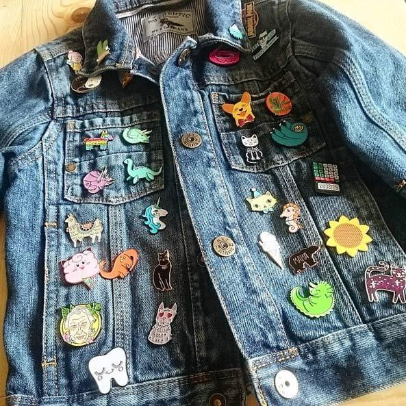 Pins on a jacket
