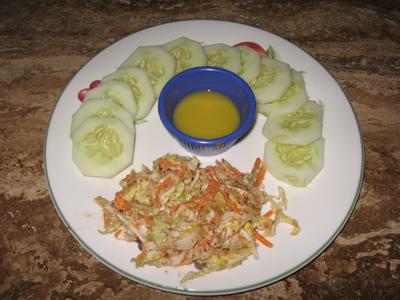 Thai Slaw, Cucumbers, Honey-Dijon Dressing
