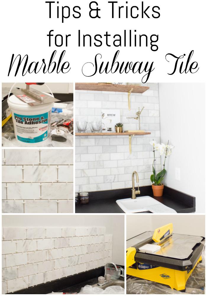 installing marble subway tile