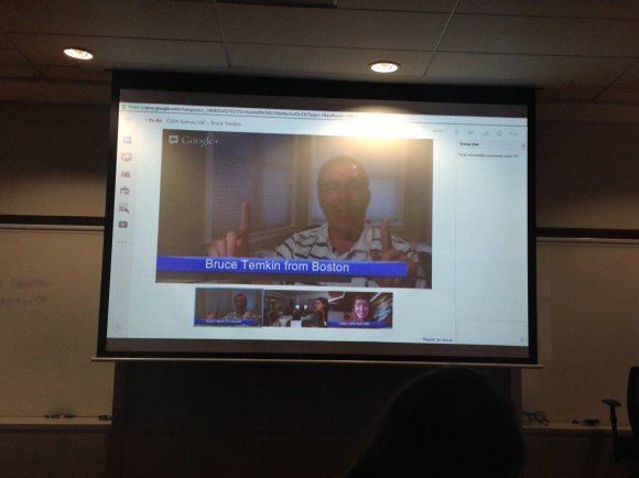 Bruce Temkin beaming in via a Google Hangout