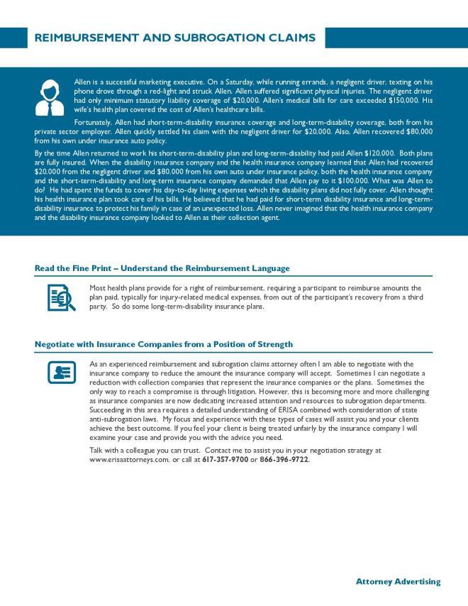 Reimbursement and Subrogation Claims
