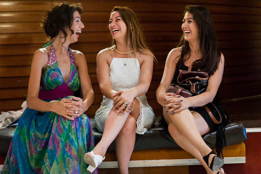 bride and friends having fun before wedding