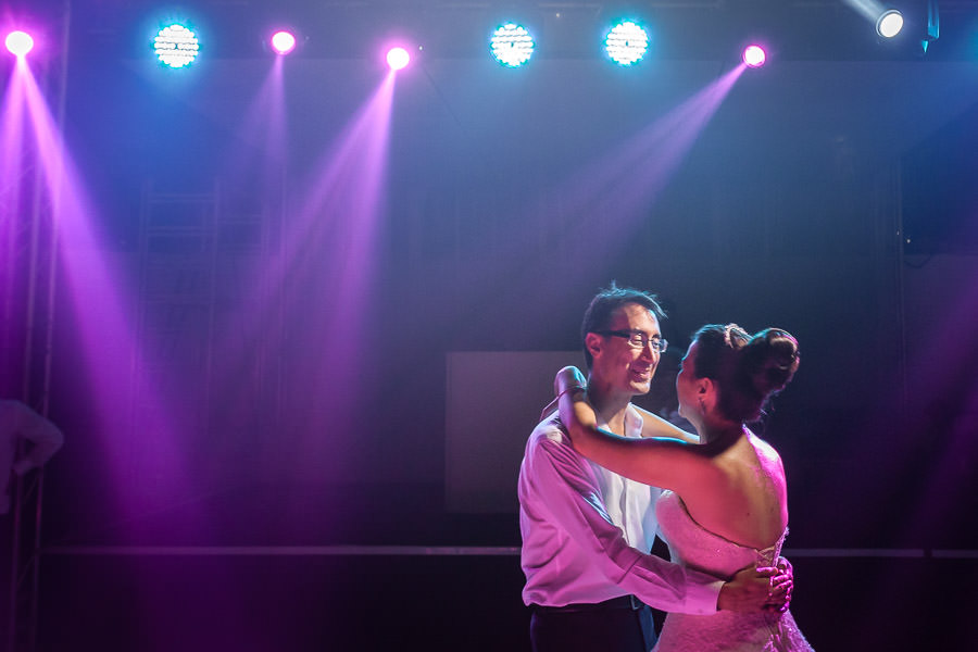 romantic dance with bride and groom
