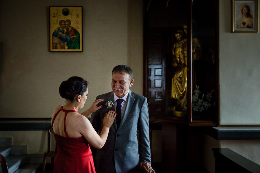father of the bride before the ceremony at istanbul st. anthony of padua wedding