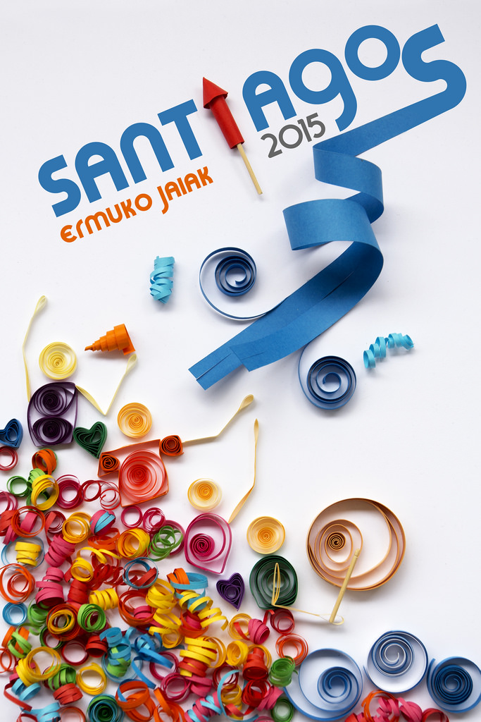 """Santixauak, ura eta filigrana""  ganador del concurso de carteles Santiagos 2015"