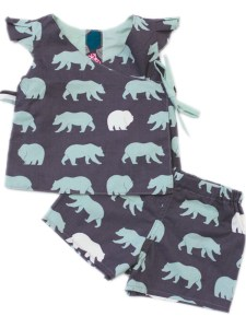 Kinder Wendebluse und Boxershorts mit Bären auf grauem Grund