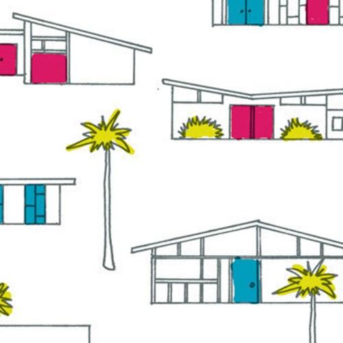 Birch Fabrics Houses 50'ties Stoff