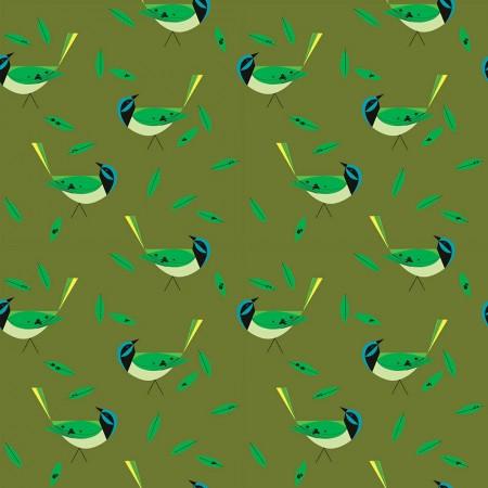 Charley Harper für Birch Fabrics Green Jay Bio Baumwolle Stoffdesign