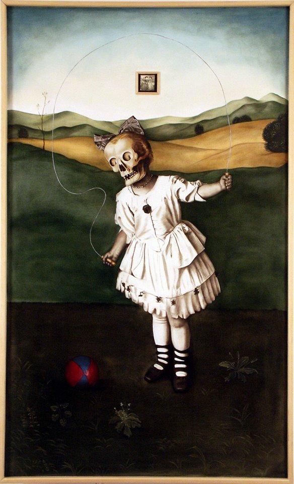 2004 Skull Girl, lightbox painting on wood panel by Marianna Gartner, suggested cover for Andrew Nikiforuk's Slick Water