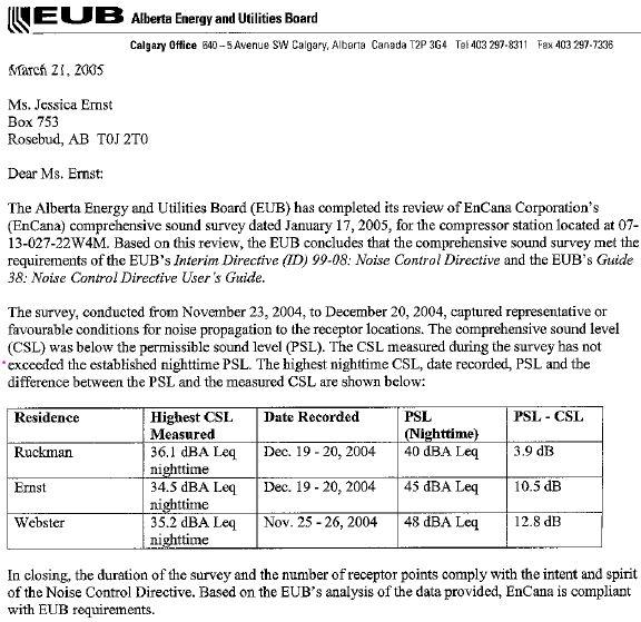 2005 03 01 EUB falsifies and enables Encana's non compliant noise levels at Rosebud
