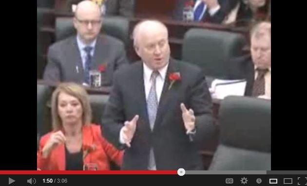 2013 05 09 in the Alberta Legislature Brian Mason questions Ken Hughes about Fox in the Henhouse Gerard Protti