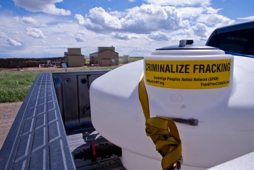 2013 06 Criminalize fracing Encana 7-13 compressors at Rosebud Alberta