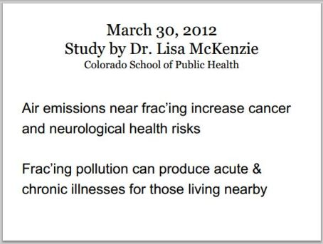 2013 03 30 Lisa McKenzie health impacts from fracing