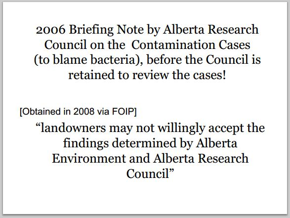2006 Briefing note by Alberta Research Council to blame bacteria before being retained by Alberta Environment