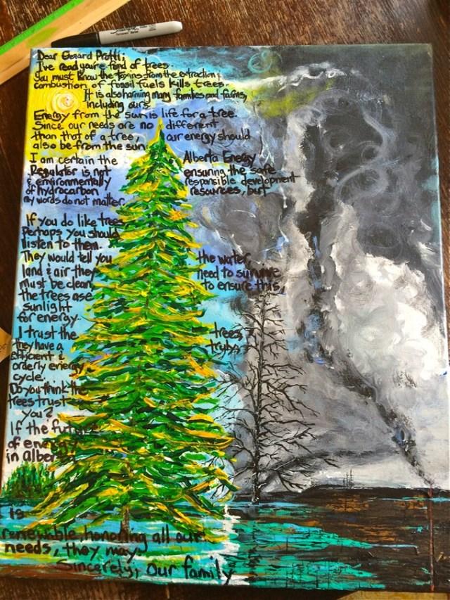 2014 Daunheimer children and Diana give AER, ExEncana VP, ExCenovus Advisor, ExARC Board Member, dregulation pusher, Gerard Protti a painting