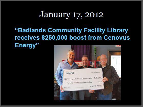 2012 01 17 Cenovus, previously Encana, donates 250,000 to drumheller library