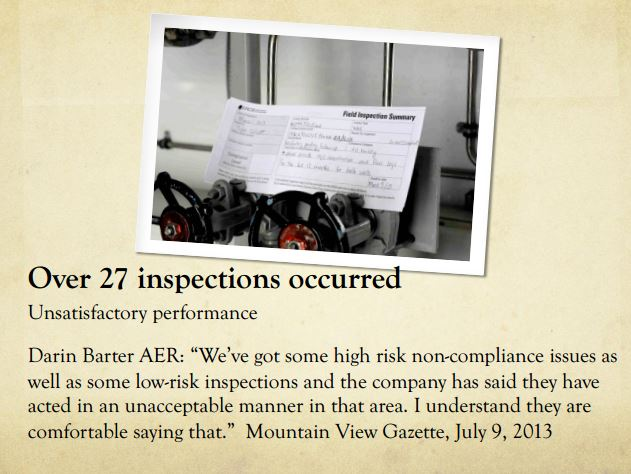 2014 03 13 Diana Daunheimer Fracturing our lives and how it affects us all )ver 27 inspections