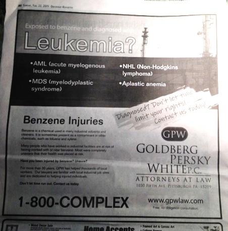 2015 02 23 Benzene leukemia ad in PA Observer Reporter