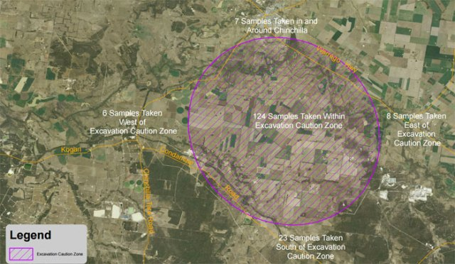 2015 08 10 SE Queensland Dept map showing massive extent of contamination by Linc Energy south Chinchilla, 300 sq km area landowners told not to dig
