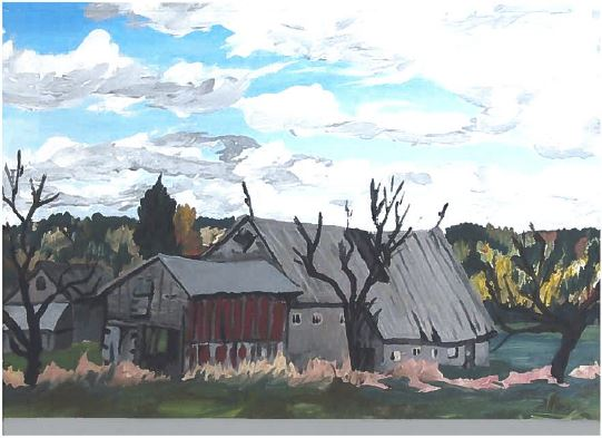 2015 08 10 donation card painting, old barn