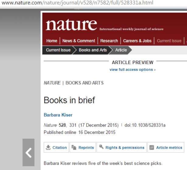 2015 12 16 Books in Brief by Barbara Kiser, published online in 'Nature' 528, 331, Barbara Kiser reviews five of the week's best science picks