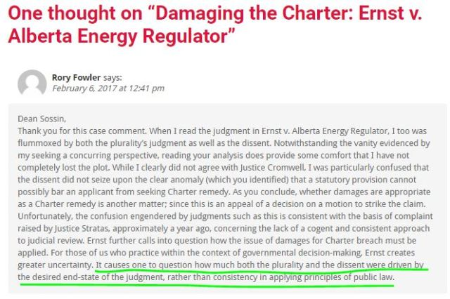 2017 02 06 comment by Rory Fowler to Dean Lorne Sossin's post 'Damaging the Charter' on Ernst losing at SCC w hilite