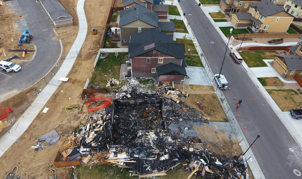 FIRESTONE, CO - APRIL 27: Crews continue to investigate a fatal house explosion on April 27, 2017 in Firestone, Colorado. Anadarko Petroleum plans to shut down 3,000 wells in northeastern Colorado after the fatal explosion. (Photo by RJ Sangosti/The Denver Post)