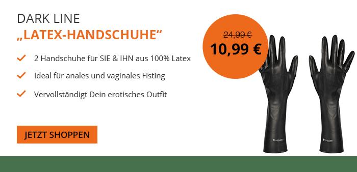 Venize.de Halloween Aktionsangebot - Deluxe Dark Line Latex Handschuhe für 10,99 Euro statt 24,99 Euro