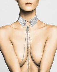 Bijoux Indiscrets Náhrdelník - obojok s retiazkami - strieborný