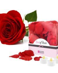 Bed of Roses Červené okvetné lístky ruží + 3 sviečky