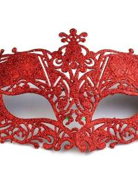 Karnevalová maska Plastová čipka s flitrami červená